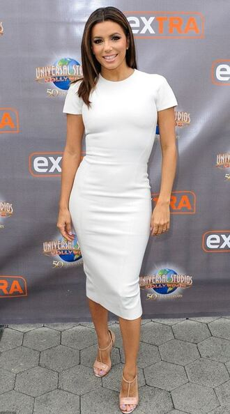 dress midi dress white eva longoria sandals bodycon shoes