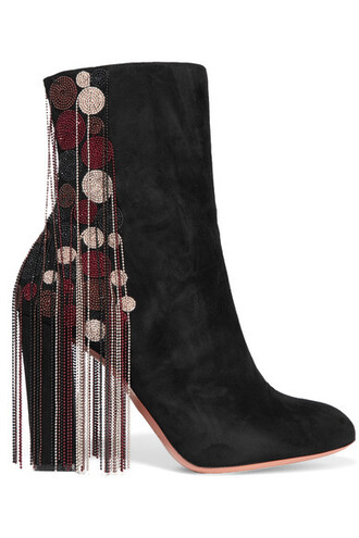 suede ankle boots beaded boots ankle boots suede black shoes
