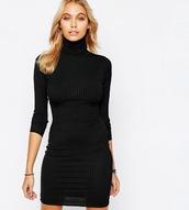 dress,girl,girly,girly wishlist,black,black dress,bodycon dress,bodycon,mini dress,knit,turtleneck,turtleneck dress