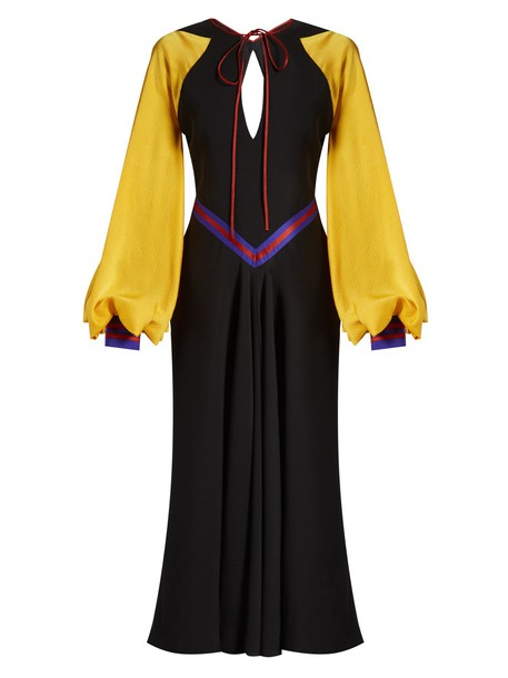 Roksanda dress silk black yellow
