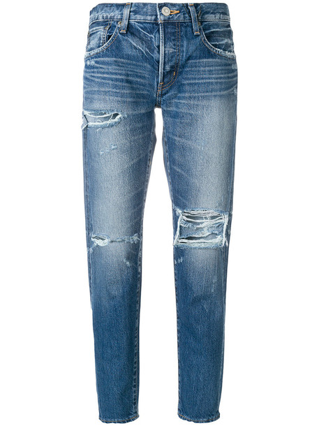 Moussy jeans women leather cotton blue
