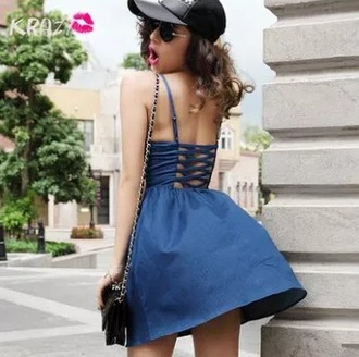 dress cute jeans blue korean summer dress denim dress korean fashion korean style
