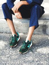 shoes,green sneakers,sneakers,new balance,forest green,suede sneakers,cropped pants,blue pants,polka dots,patterned pants,low top sneakers,polka dot pants,pajama style,nike sneakers,nike,pants,pajama pants