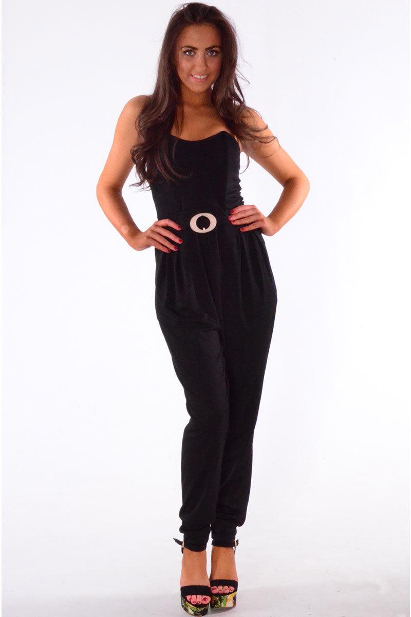 Eneco Bandeau Style Jumpsuit In Black