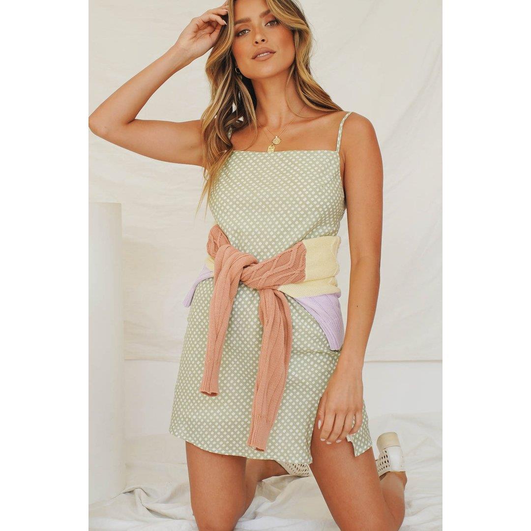 Spring In L.A Bias Cut Mini Dress // Sage