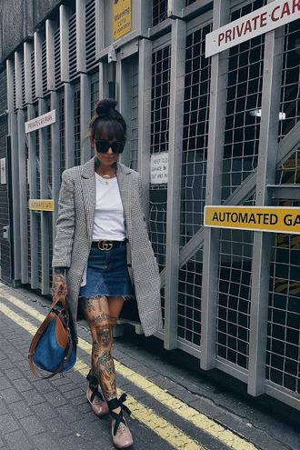 skirt denim skirt patchwork skirt patchwork t-shirt coat handbag ballet flats gucci belt blogger blogger style