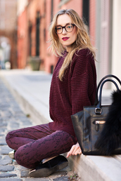 eat sleep wear,sweater,pants,shoes,bag,jewels,warby parker,monochrome,burgundy,burgundy sweater