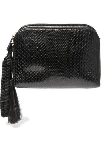 python clutch black bag