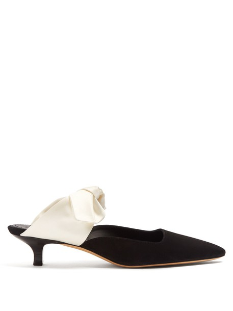 The Row bow mules suede satin white black shoes