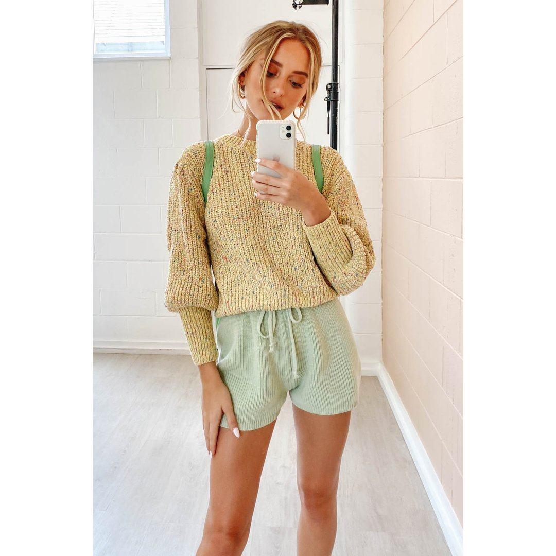 Quiet Nights Knit Shorts // Sage