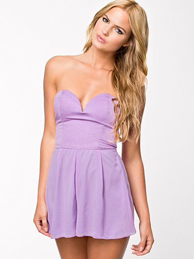 Sweetheart Bustier Playsuit - Rare London - Purple - Jumpsuit - Clothing - Women - Nelly.com
