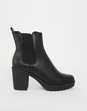 Truffle Tori Cleated Heeled Ankle Boots at asos.com