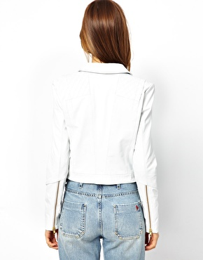 Y.A.S | Y.A.S Lein Biker Jacket in White Leather at ASOS