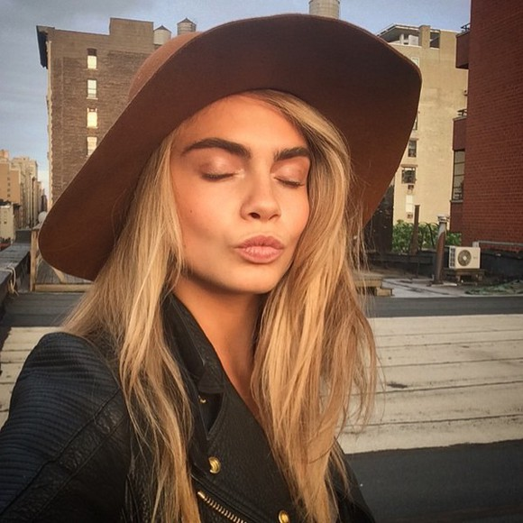 hat floppy hat brown cara delevingne