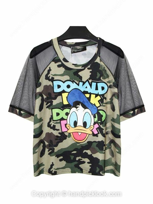 Green Round Neck Donald Duck Print Contrast Sheer Mesh Yoke T-Shirt - HandpickLook.com