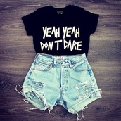 shirt,shorts,blouse,idc,t-shirt,black t-shirt,black crop top,crop tops,black and white,don't care,girl,black,yeah,dont,care,swag,yolo,beautiful,fashion,toast,swagetti,hot pants,high waisted,jeans,quote on it,outfit,cropped shirt,graphic tee,graphic crop tops,oversized,cut offs,summer,yeah yeah don't dare,sarcasm,perfect,short,High waisted shorts,urgent,black shirt,light blue,denim,denim shorts,ripped shorts,top,skater,black white letters,lyrics,batoko,www.batoko.com
