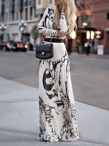 9c725f0c0c5 dress maxi dress printed dress black and white dress long sleeve dress black  and white long
