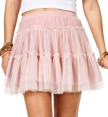 Pink Tulle Tiered Skirt