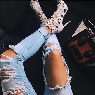 jeans blue ripped jeans shoes cream white cute high ht