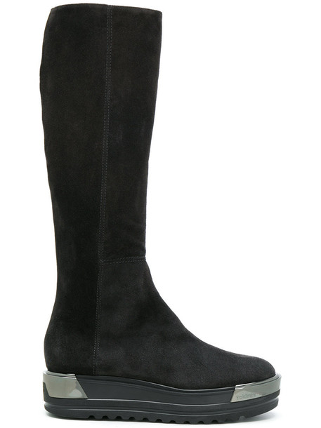 Baldinini knee-high boots high women leather suede grey shoes