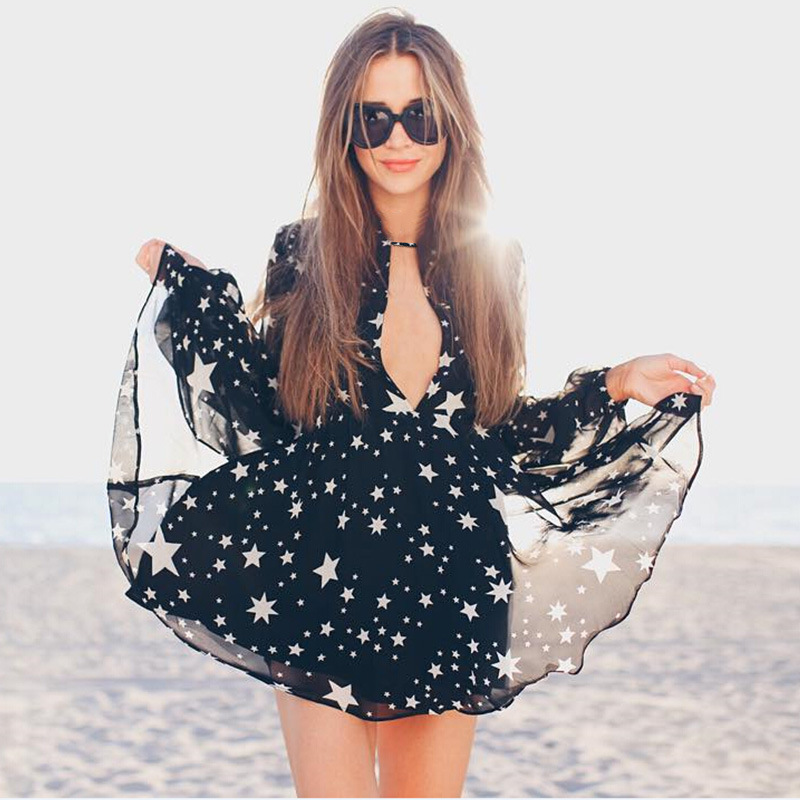 Aliexpress.com : Buy 2016 Summer Women Dress V neck Casual Sexy Long Sleeve Dress Stars Print Elegant Chiffon Female Beach Dress from Reliable dresses loose suppliers on Fashion Sunlight