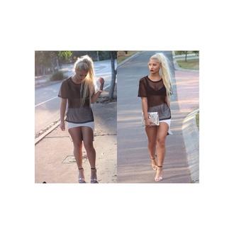white black shirt blouse white skirt lace mesh mesh shirt cut off skirt lace shirt cut offs asymmetrical