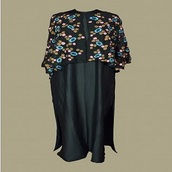 top,organic black cape style kurta with floral embroidery