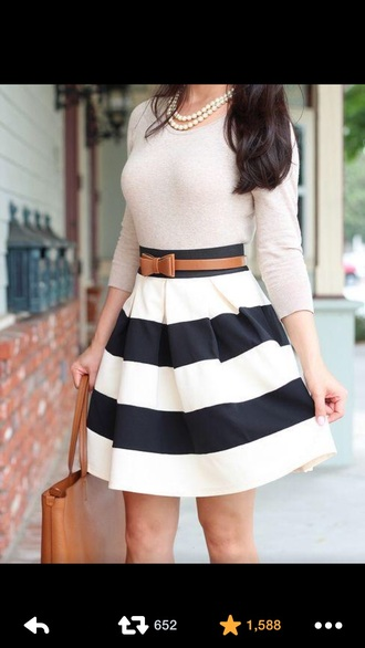 bag white shirt blue skirt striped skirt white crop top pearl belt