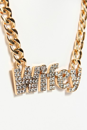 OMG Wifey Rhinestone Chain Necklace - Gold