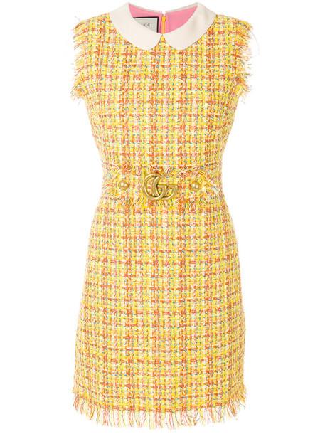 gucci dress sleeveless women cotton yellow orange
