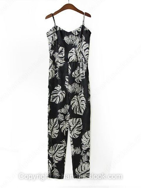 Black Spaghetti Strap Sleeveless Leaves Print Loose Jumpsuit - HandpickLook.com