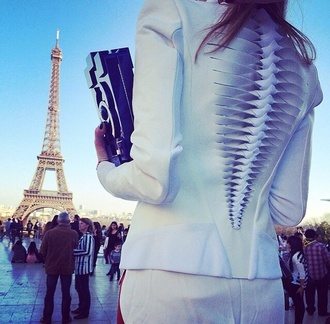jacket white embellished white twist detail back blazer bag cut out back women all white spine