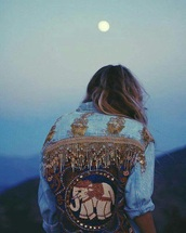 jacket,embellished,denim,denim jacket,embellished denim,boho jacket