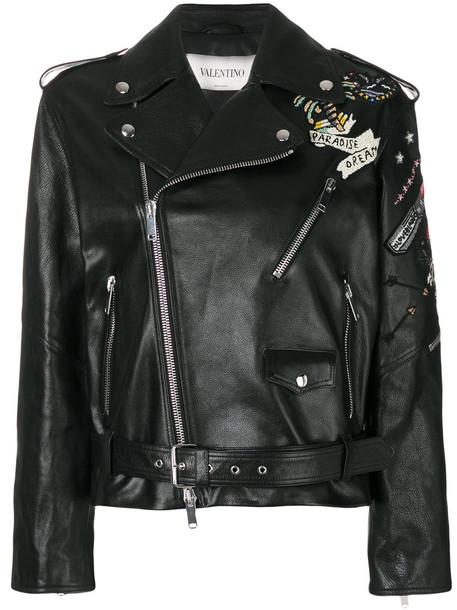Valentino jacket biker jacket embroidered women tattoo leather cotton black silk