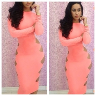 dress dope sexy slim slim fit dress light pink dress cut-out dress pink bodycon slit side peach dress