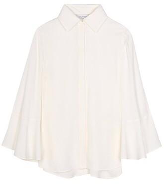 blouse cape silk white top