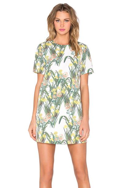 blaque label dress shift dress floral print green