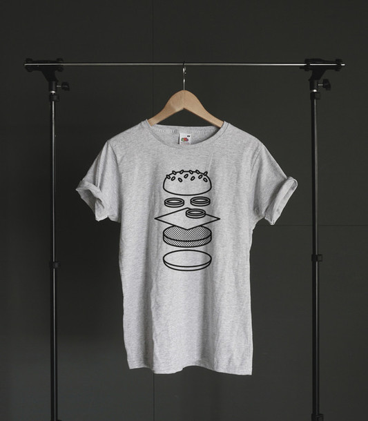 shirt grey hamburger design simples grey t shirt simple tee wheretoget. Black Bedroom Furniture Sets. Home Design Ideas