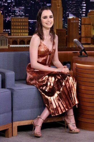 dress metallic metallic dress lily collins sandals sandal heels pleated midi dress