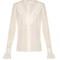 Ruffled high-neck silk blouse