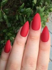nail polish,red nails,red,matte nail polish,pointy nails,acrylic nails,fake nails
