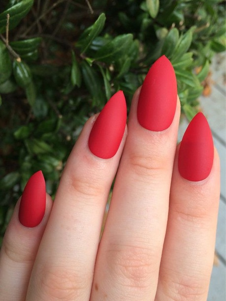 Nail Polish Red Nails Matte Pointy Acrylic Fake