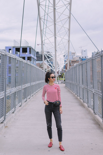 hey pretty thing blogger top jeans sunglasses belt bag shoes jewels loafers striped top gucci bag gucci belt fall outfits