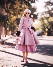 coat,pink coat,pink skirt,pink heels,beret,pink bag,pink sunglasses