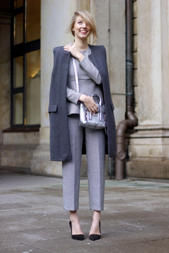 ohh couture blogger pants grey grey coat charcoal satchel bag classy office outfits silver