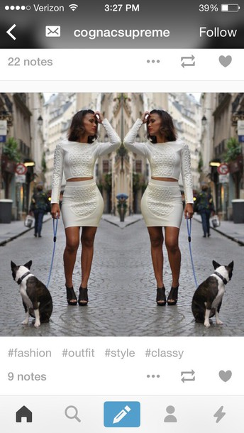dress two-piece white dress white crop tops style fashion skirt bandage dress