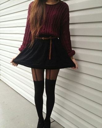knickers tights tumblr outfit skater skirt
