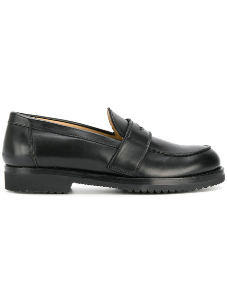 heel women loafers leather black shoes