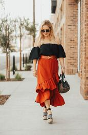 thehuntercollector,blogger,skirt,top,belt,bag,shoes,sunglasses,jewels,orange skirt,off the shoulder top,wedges,spring outfits