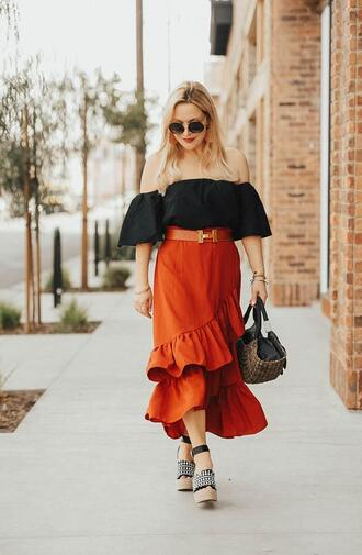 thehuntercollector blogger skirt top belt bag shoes sunglasses jewels orange skirt off the shoulder top wedges spring outfits